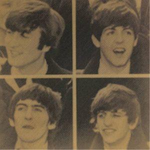 Prachtige foto van the Beatles in hout gefreesd
