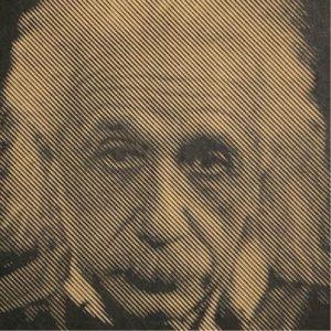 Prachtige foto van Einstein in hout gefreesd