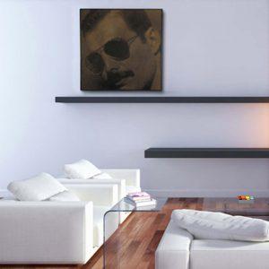 Prachtige foto van Freddy Mercury in hout gefreesd